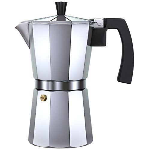 Alpha Coffee Espresso Maker Stovetop. 6 Cup Moka Pot. Italian Design Premium Aluminum Commercial Grade Coffee Machine