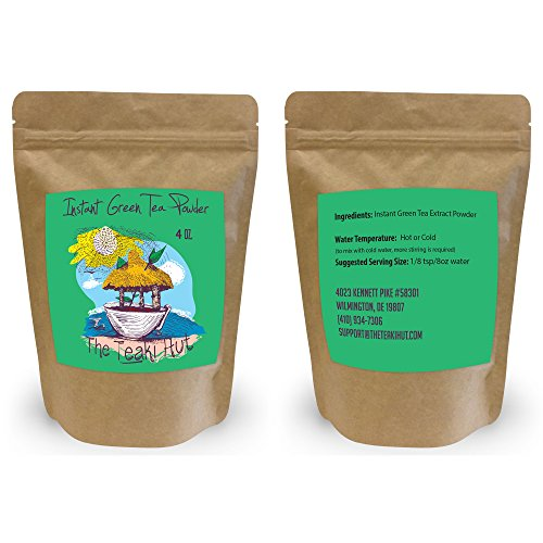 Instant Green Tea Powder – 100% Pure Tea – No Fillers, Additives or Artificial Ingredients of Any Kind (4 oz – appx 200 Servings)