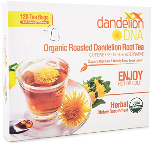 Roasted Dandelion Root Tea – USDA Organic – Supports Digestion, Kidney & Liver Health – 120 Bags