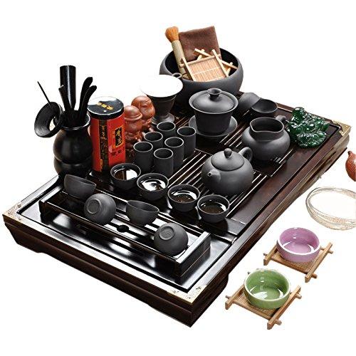 ufengke®Wood Tea Tray Ceramic Kung Fu Tea Set Tea Service-Black