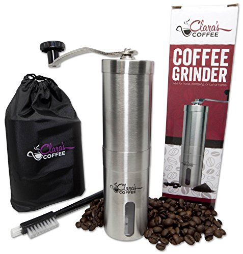 **FLASH SALE TODAY* Manual Coffee Bean Grinder – Stainless Steel Body with Adjustable Ceramic Conical Burr – Hand Crank Mill Grinds Beans for Espresso, Turkish, Greek & Aeropress – Camping Travel Size
