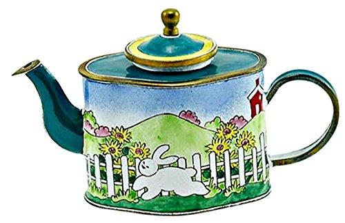 Kelvin Chen Pink Bunny Rabbit Hopping Through Sunflowers Decorative Enamel Teapot