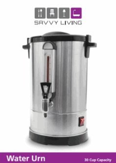 Savvy Living Commercial Hot Water Urn 30 Cups Brushed Stainless Steel Metal, Double Insulated, Safety Lid Lock, Boil Protection, Add Water on YomTov On Off Switch for Hot Coffee Tea and Cocoa 16″ High