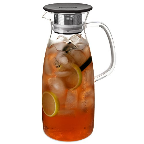 FORLIFE Mist Glass Ice Tea Jug, 50-Ounce, Black