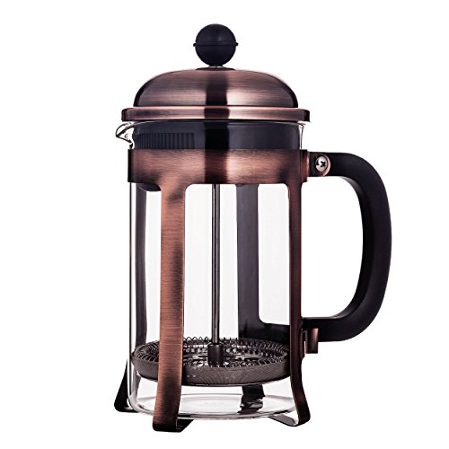 French Press Coffee Maker in Copper Stainless Steel Heat Resistant Glass FDA Approved Mandarin-Gear / Rust Free 28oz/800ml 4 Cups/ 2 Mugs