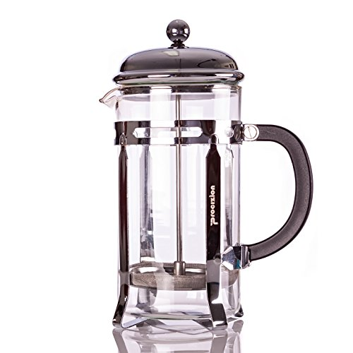 Procizion French Press 5 Cup 2 Mugs Durable 20 Oz Coffee, Espresso and Tea Maker with Triple Filters, Stainless Steel Plunger and Heat Resistant Tempered Glass