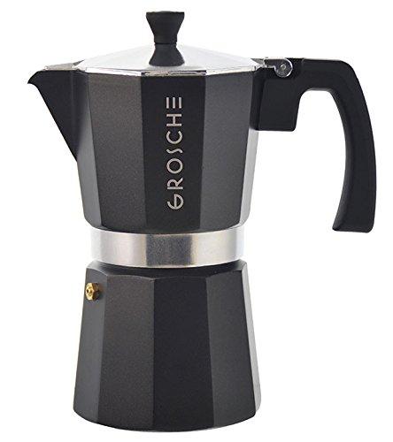 GROSCHE Milano Moka Stovetop Espresso Coffee Maker With Italian Safety Valve, Black, 9 cup