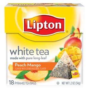 Lipton White Tea Island Mango & Peach Pyramid Tea Bags, 20 ct (Pack of 6)