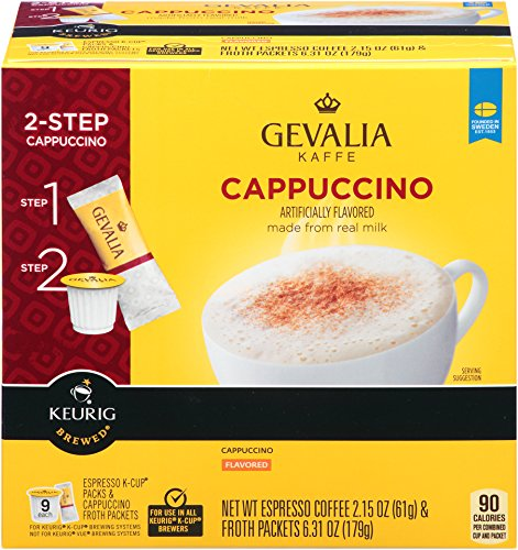 Gevalia Cappuccino K-Cup Packs and Froth Packets 9-Count