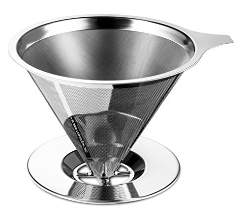 "Osaka Stainless Steel Pour Over Cone Dripper, Reusable Coffee Filter with Cup Stand ""Kinkaku-ji"""