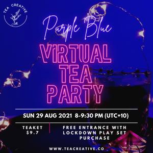 Purple Blue Virtual Tea Party