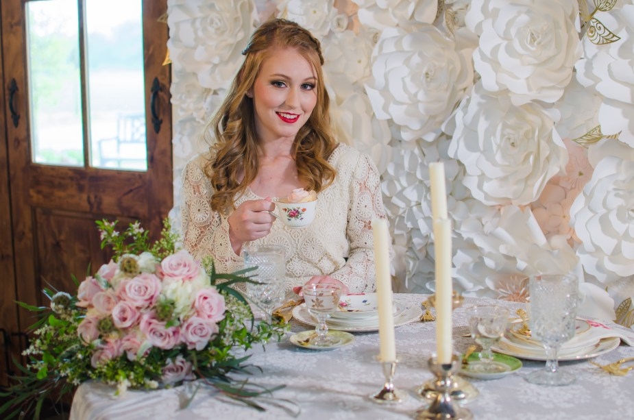 Bride with tea cup