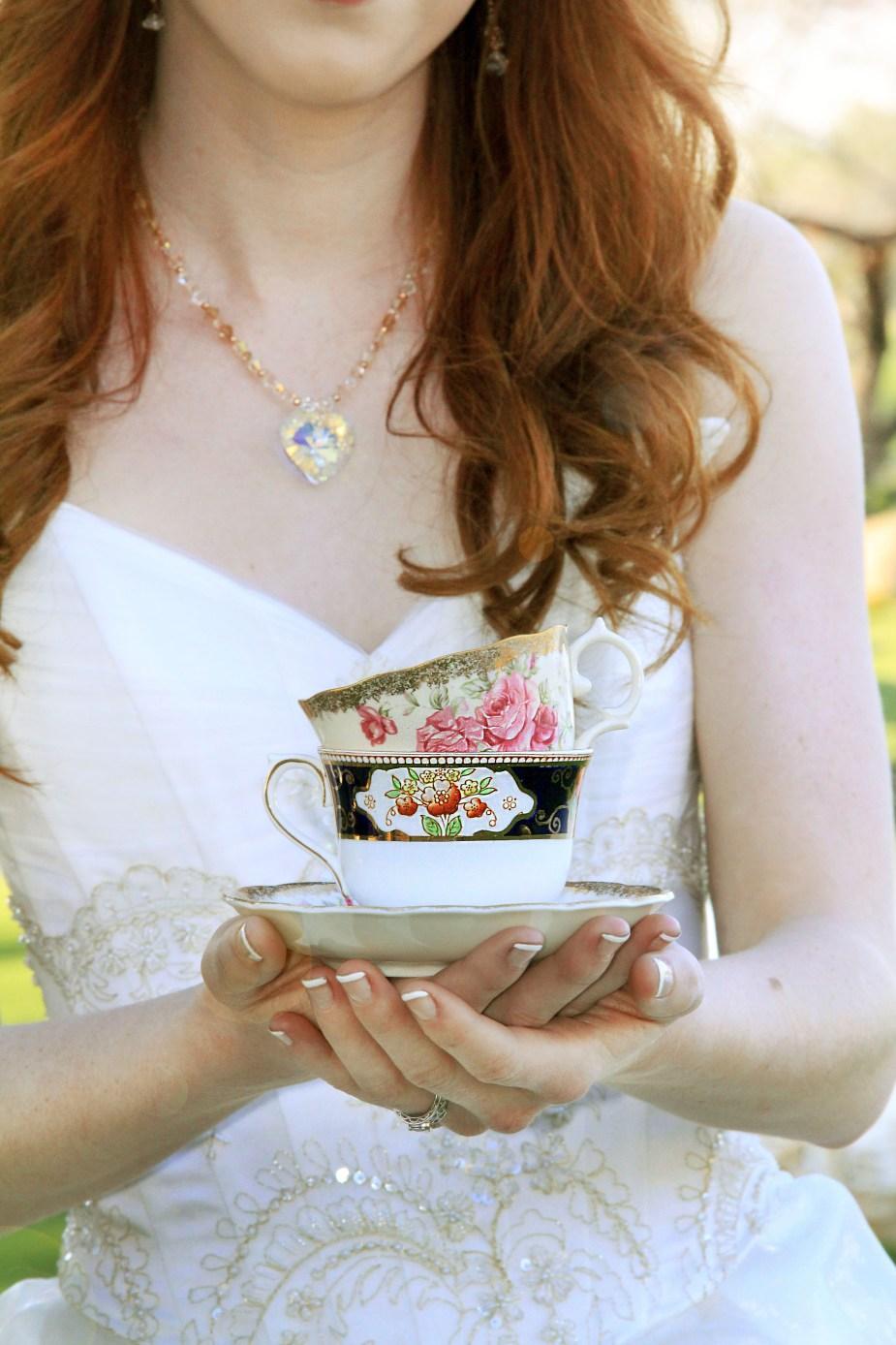 Bride with tea cup