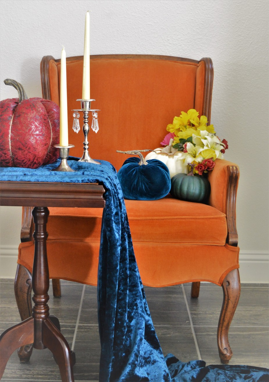 Orange Velvet Chair for rent
