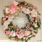 Pink Shabby Cottage Christmas Teacup Wreath Christmas