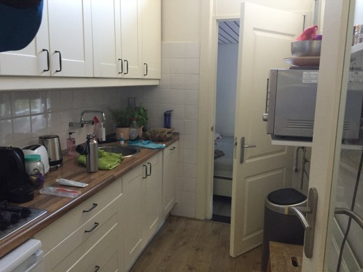 The kitchen - narrow, but workable. And the only sink in the place.