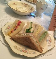 Rengstorff House Annual Spring Tea Lisa's Tea Treasures catered sandwiches: pesto, traditional cucumber, chicken waldorf, classic egg salad, aged cheddar cheese and tomato tea gift ideas.