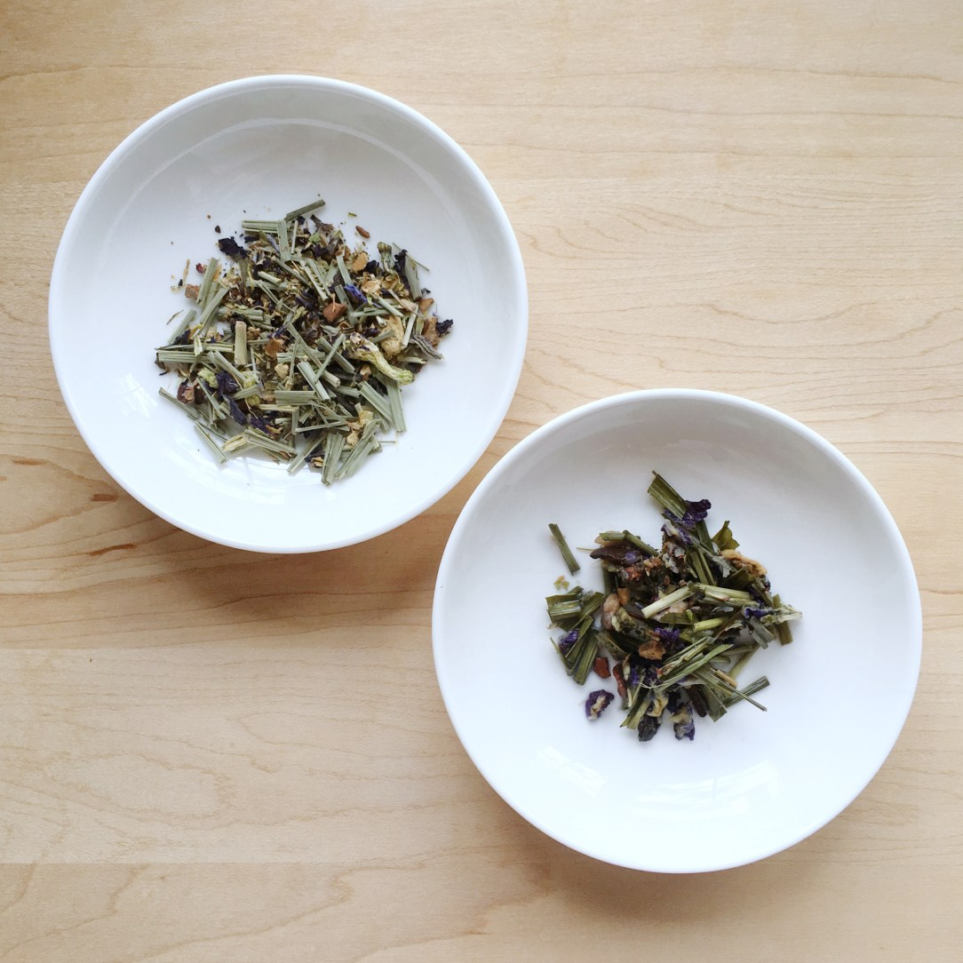 Pluck Tea Verbena Blues Herbal Tea Dishes