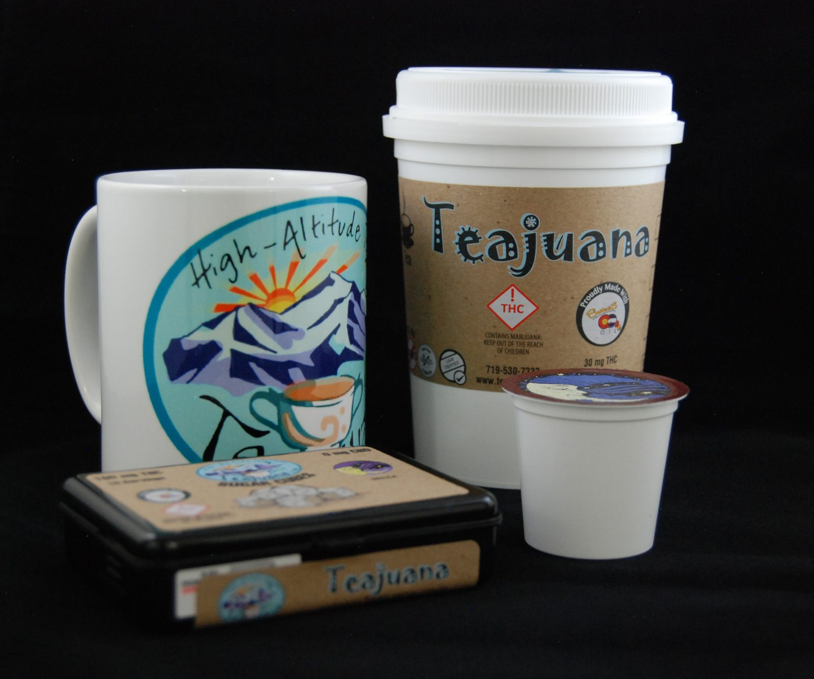 THC Infused Coffees, Teas, Cocoa and Sugar Cubes on display