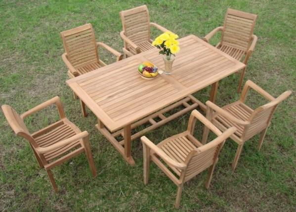teak outdoor patio furniture sets Luxurious 7-Piece Grade-A Teak Dining Set - Teak Patio