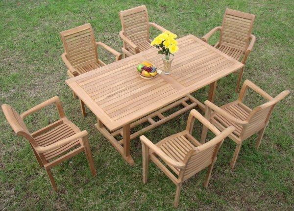 teak patio furniture sets 13 Piece Luxurious Grade-A Teak Dining Set - Teak Patio