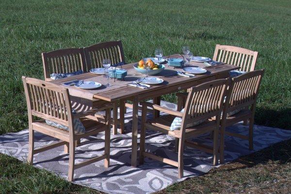 teak patio furniture sets Pebble Lane Living 7-Piece Teak Wood Patio Dining Set