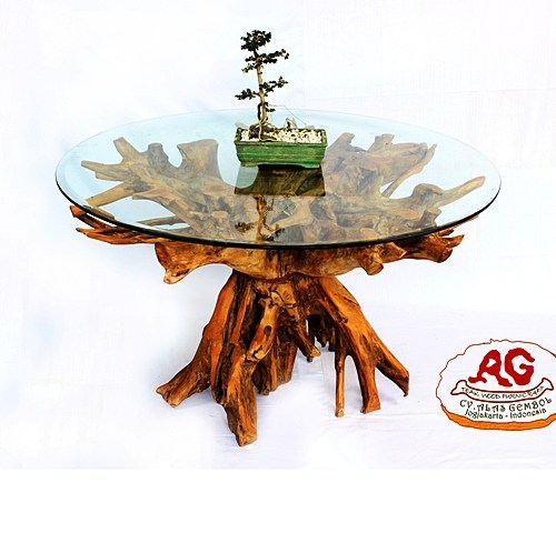 teak root table glass top
