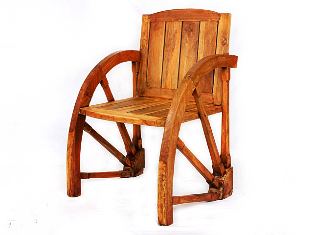 Quarter Wheel Teak Arm Chair