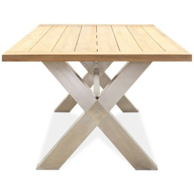 A Recycled Teak Table. With Stainless Steel Legs