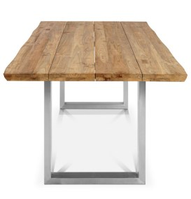 "A Reclaimed Teak ""U"" Table with Stainless Steel Legs"