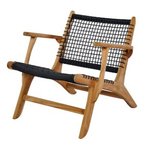 teak and rope casual arm chair