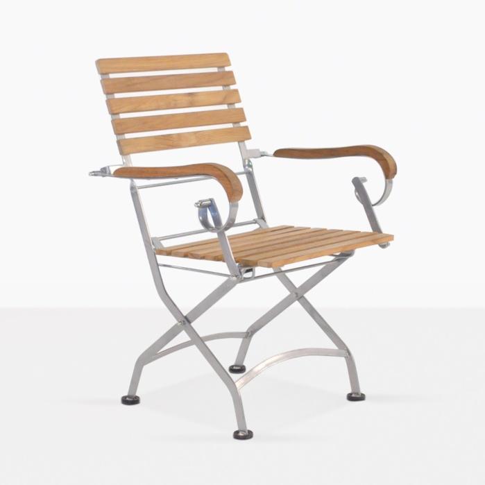 cafe teak folding dining arm chair