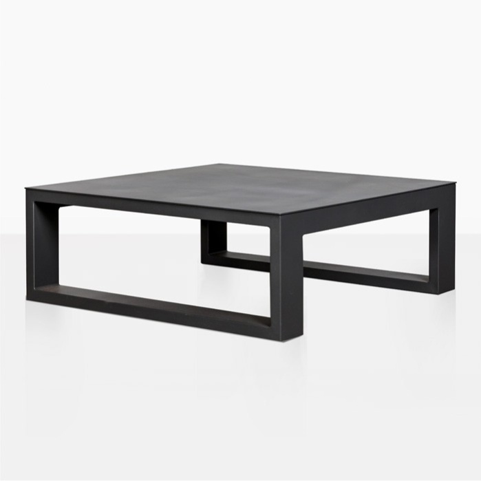 mykonos aluminum square coffee table charcoal