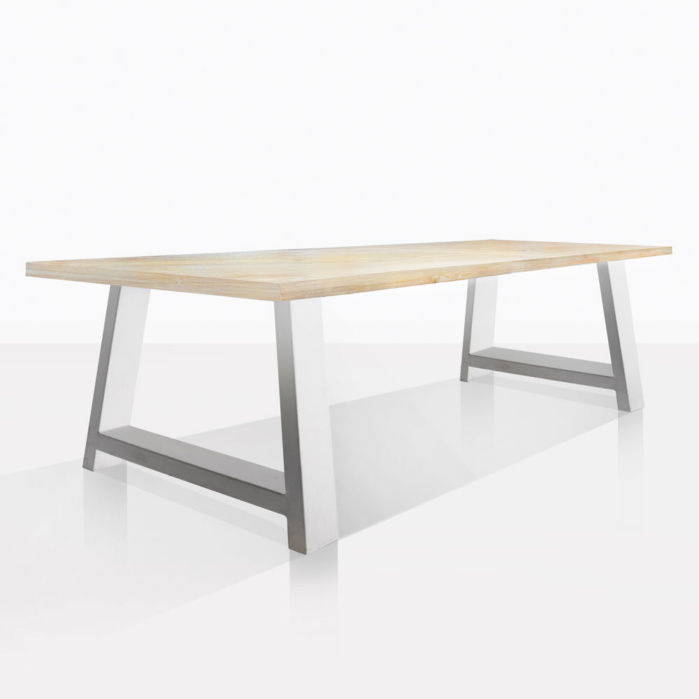 santa fe teak and aluminum outdoor dining table white