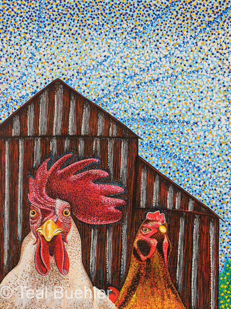 In the Barnyard - 11x14 Acrylic paint and pens on watercolor paper