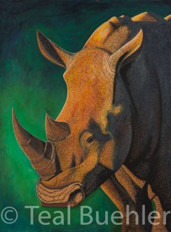 White Rhino - 22x30 on Cold Pressed Lanaquarelle Water Color Paper 300 lb