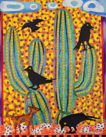 SOLD - Coyote Playing with Ravens - 11x14 Collage on Canvas Board