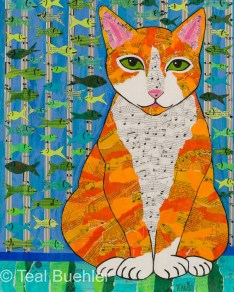 Marmalade Cat - 11x14 Collage on Canvas Board
