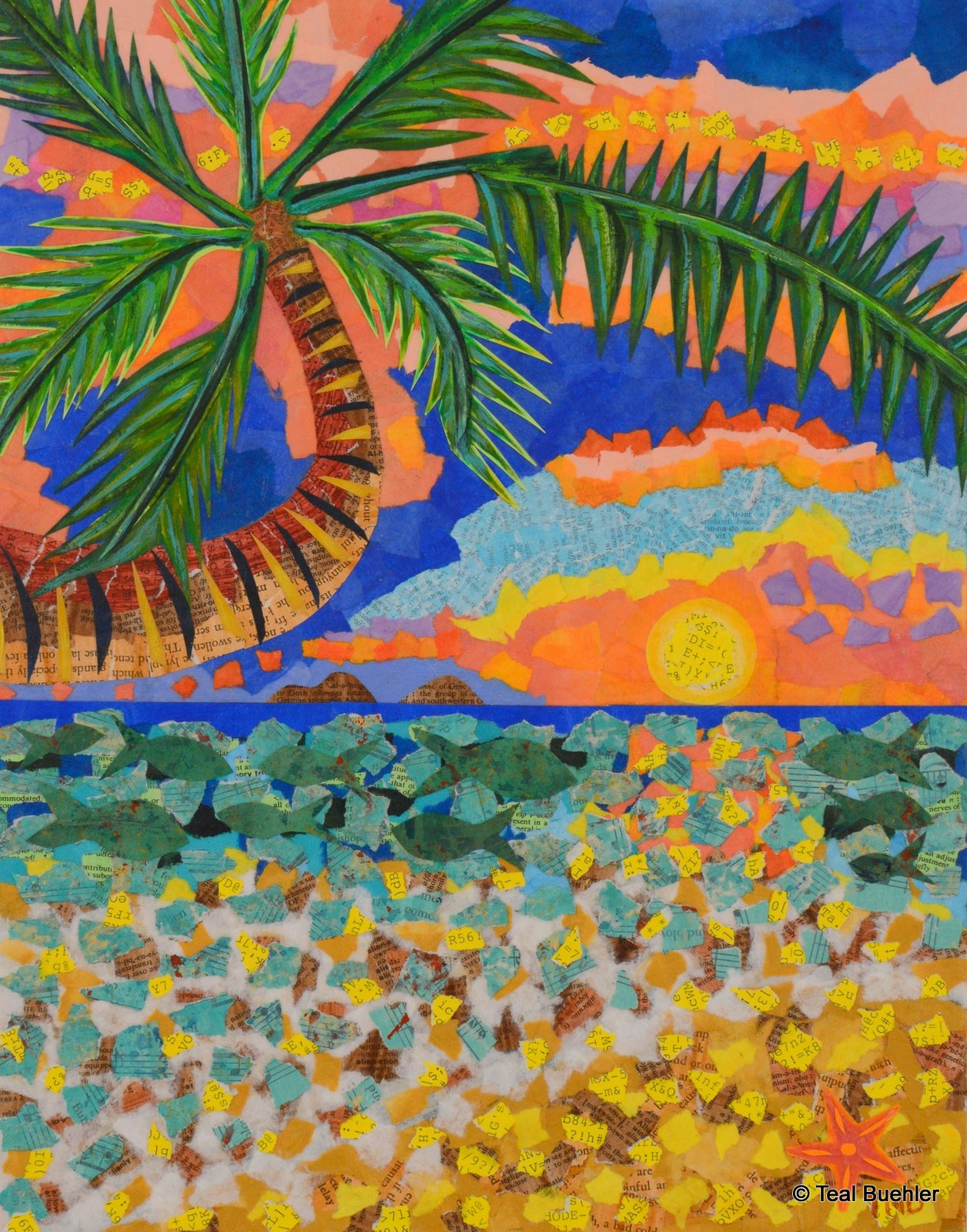 SOLD - Tropical Landscape - 11x14 Acrylic paint and collage on masonite