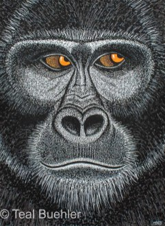 Gorilla - 8.5 x 11.5 Acrylic Paint & Pens on Watercolor Paper