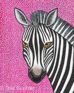 Purple Zebra - 8 x 10 Acrylic Paint & Pens on Watercolor Paper
