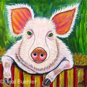 In The Pig Pen - 5 x 5 Acrylic on Masonite