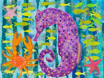 Crab and Seahorse - 12x16 Collage on canvas board