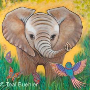 Jungle Elephant - 24 x 24 Acrylic on Masonite