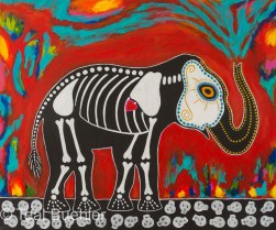 Day of the Dead Elephant - 24 x 20 Acrylic on canvas Click to shop Day of the Dead products