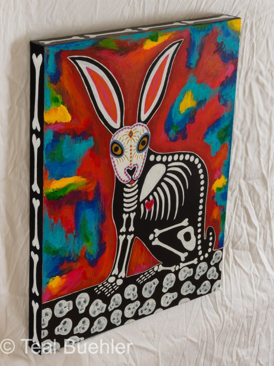 SOLD - Day of the Dead Rabbit - 16 x 20 Acrylic on canvasClick to shop Day of the Dead products