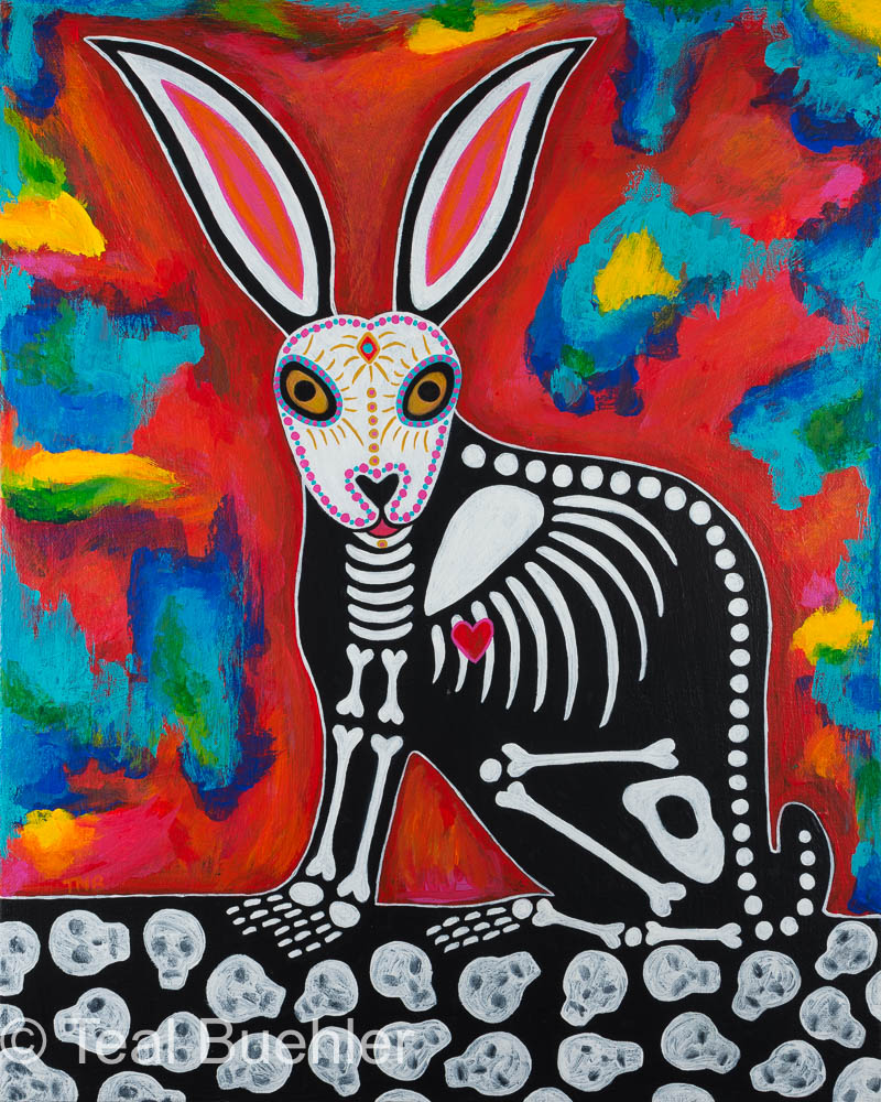 Day of the Dead Rabbit - 16 x 20 Acrylic on canvas