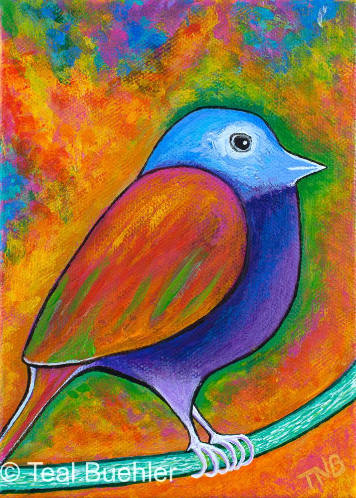 Springbird II - 5x7 Acrylic on canvas