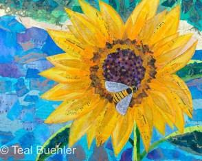 Sunflower - 16x20 Collage on wood panel