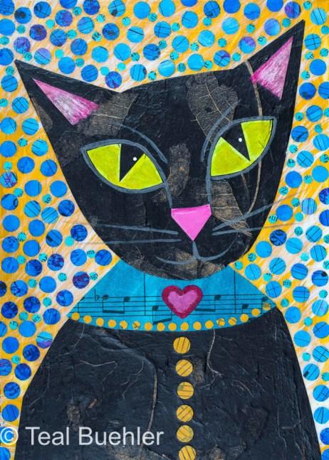 Black Cat - 5x7 Collage on wood panel